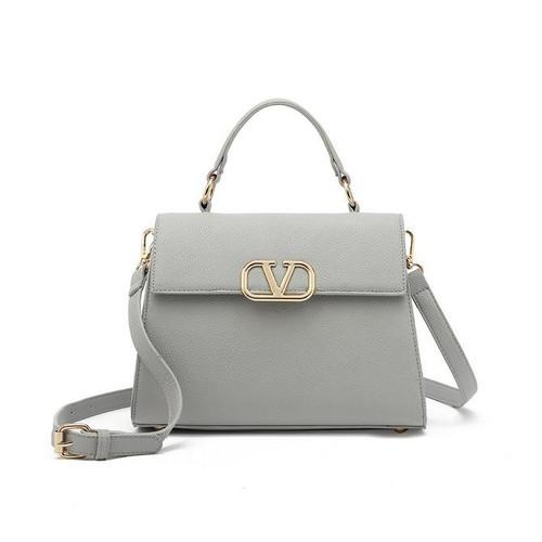 Silvia Top Handle V Designer Inspired Bag - Grey
