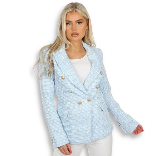 Paulina Contrast Knit Balmain Inspired Blazer - Blue