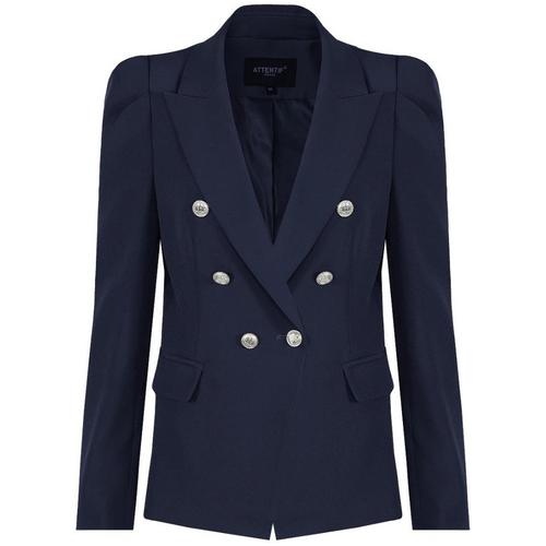 Amelia Puffed Sleeve Balmain Inspired Blazer - Navy