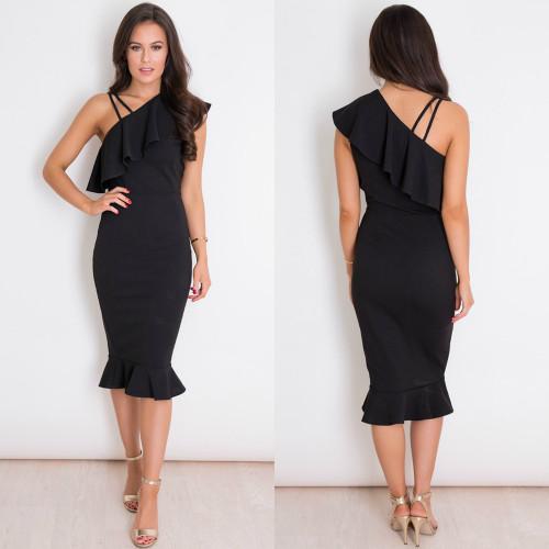 Shay One Shoulder Frill Midi Dress - Black