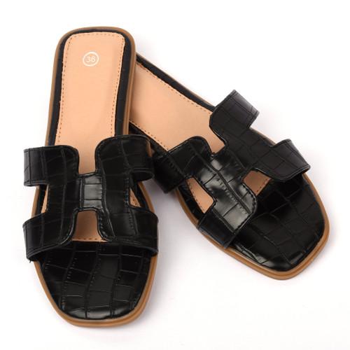 Orianna Snake Designer Inspired H Sandal - Black