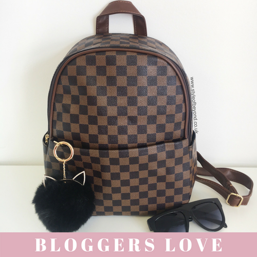 'Day Trip' Designer Inspired Backpack - Brown Check