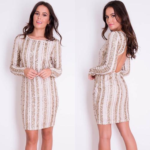 Raye Open Back Sequin Mini Dress Gold