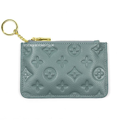 Ines Real Leather Designer Inspired Key Pouch - Blue