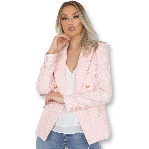 Paulina Contrast Knit Balmain Inspired Blazer - Pink