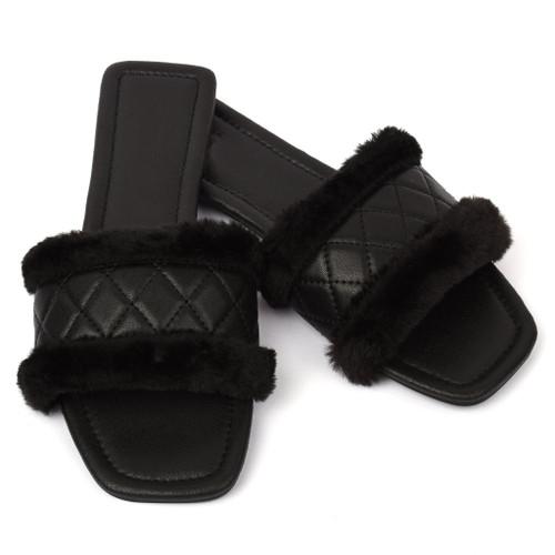 Cleo Faux Fur Designer Inspired Sandals - Black