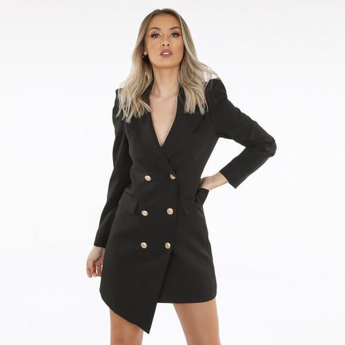 Stacey Asymmetrical Balmain Inspired Blazer Dress - Black