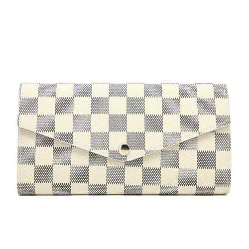 Lulu Designer Inspired Purse / Wallet - White Check