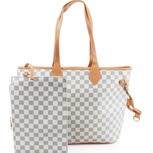 'Lets Shop' Designer Inspired Tote Bag - White Check