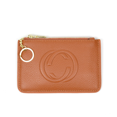 Thea Real Leather Gucci Inspired Key Pouch - Camel