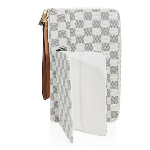 Una Designer Inspired Passport Cover & Travel Wallet - White Check