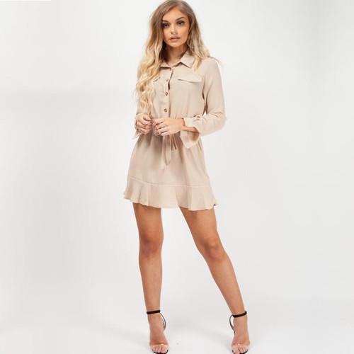 Casey Frill Hem Mini Shirt Dress - Nude