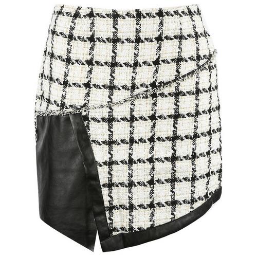 Cher Tweed PU Overlap Designer Inspired Mini Skirt - White