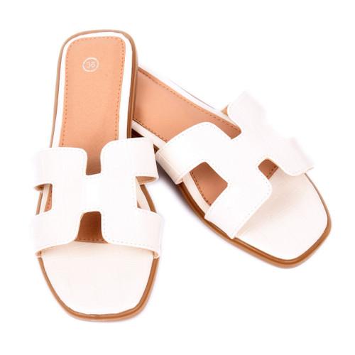 Orianna Snake Designer Inspired H Sandal - White