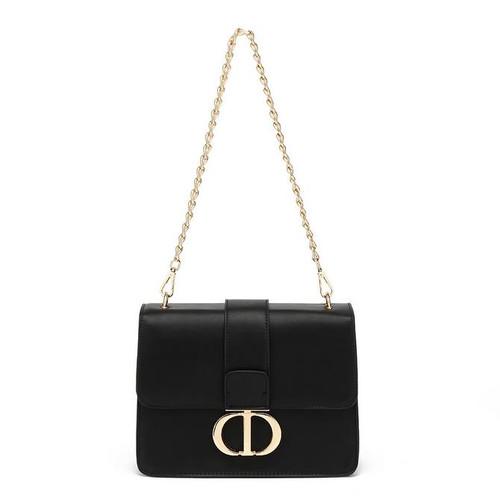 Naomi Designer Inspired Shoulder Bag - Black