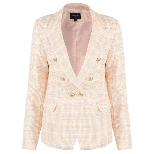 Peony Check Tweed Balmain Inspired Blazer - Pink