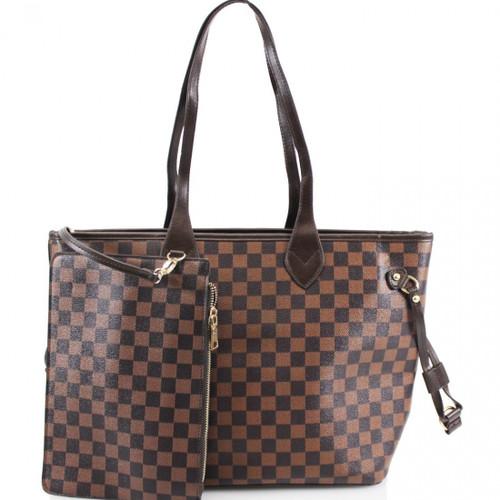 'Lets Shop' Designer Inspired Tote Bag - Brown Check