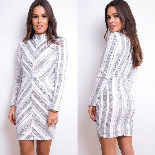 Mila Sequin Long Sleeve Mini Dress White & Silver