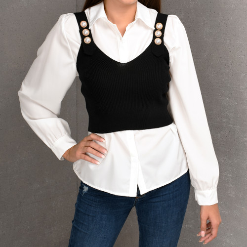 Maggie Pearl Button Knit Crop and White Shirt Set
