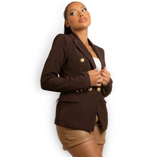 Victoria Balmain Inspired Tailored Blazer Chocolate