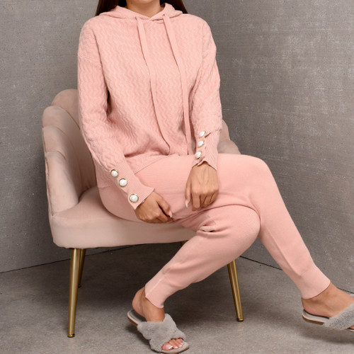 Brinley Pearl Button Knit Loungwear Set in Pink