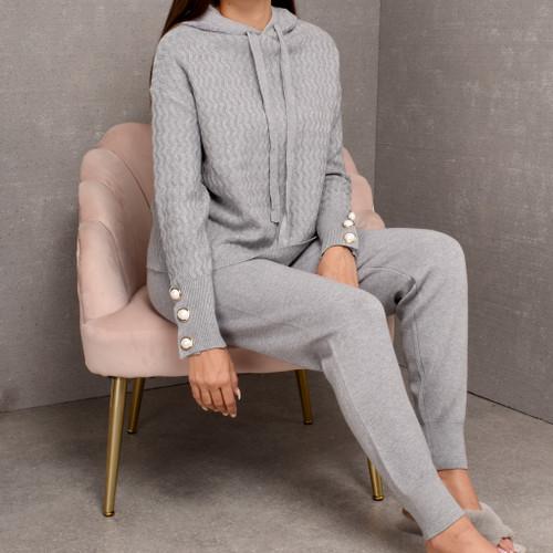 Brinley Pearl Button Knit Loungwear Set - Grey