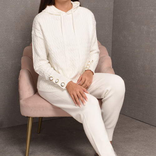 Brinley Pearl Button Knit Loungwear Set in White