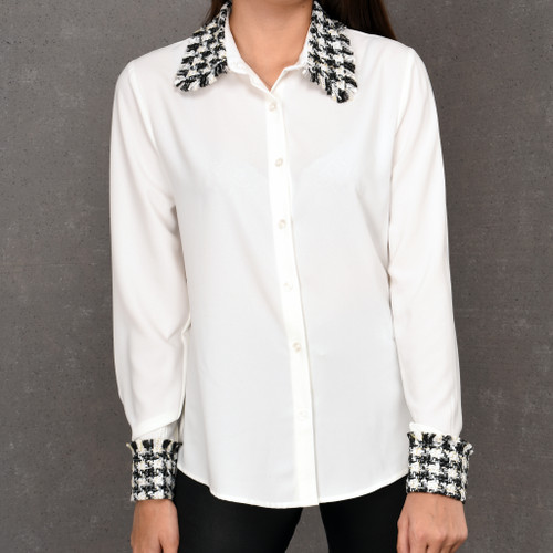 Chichi tweed collar and cuffs white shirt