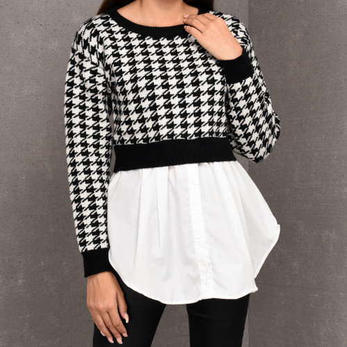 Leigh Houdstooth Knit Jumper and Shirt in black