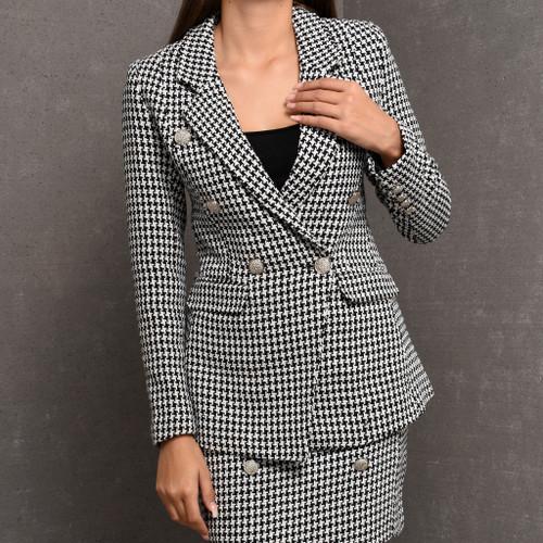 Dasha Balmain Inspired Tailored Blazer in Houndstooth