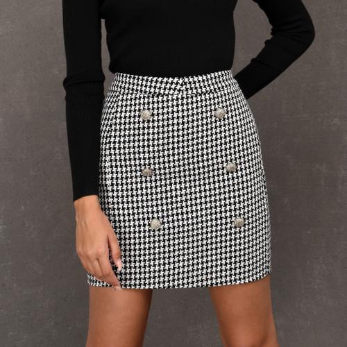 Dasha Balmain Inspired Skirt in Houndstooth