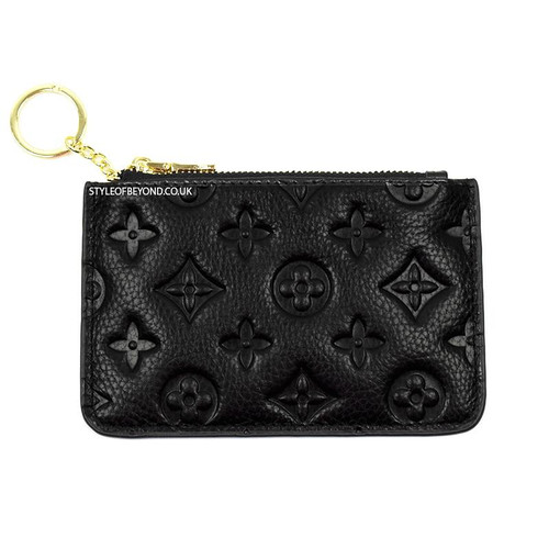 Ines Real Leather Designer Inspired Key Pouch - Black