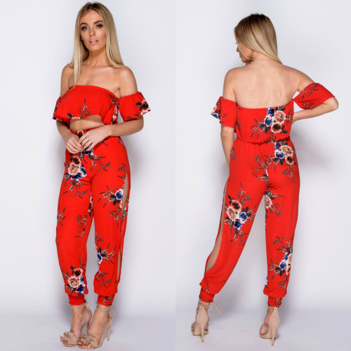 Stella Floral Print Bardot Top & Slit Trouser Coord Set - Red / Mixed