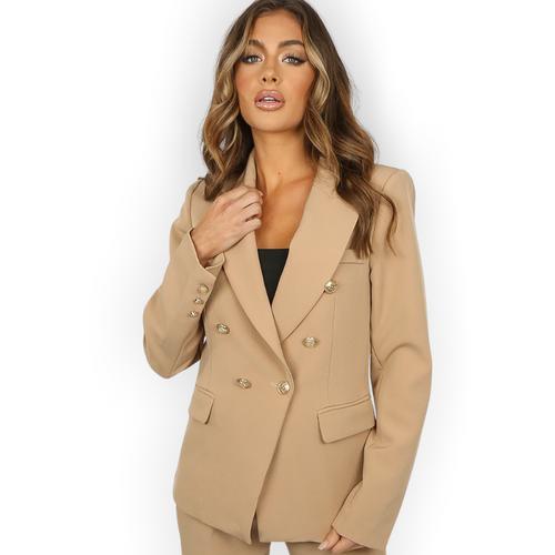 Alexandra Balmain Inspired Tailored Blazer - Camel