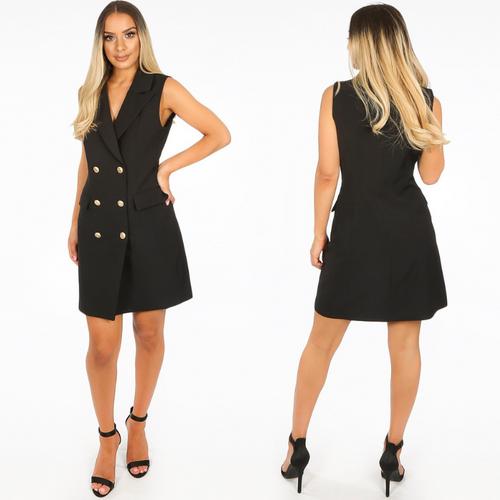 Audrey Sleeveless Balmain Inspired Blazer Dress - Black