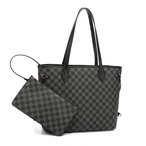 Neverfull Designer Inspired Tote Bag - Black Check