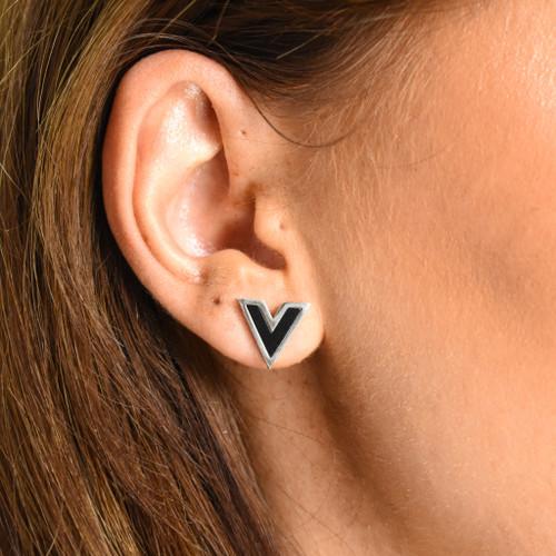 Vivi V Designer Inspired Stud Earrings - Silver