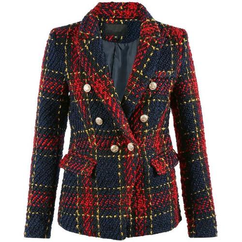 Gwen Tweed Balmain Inspired Blazer - Tartan Check