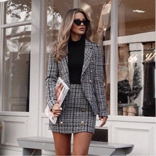 Addison Designer Inspired Tweed Blazer - Black