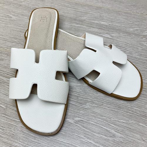 Orlie H Hermes Inspired Sandals - White