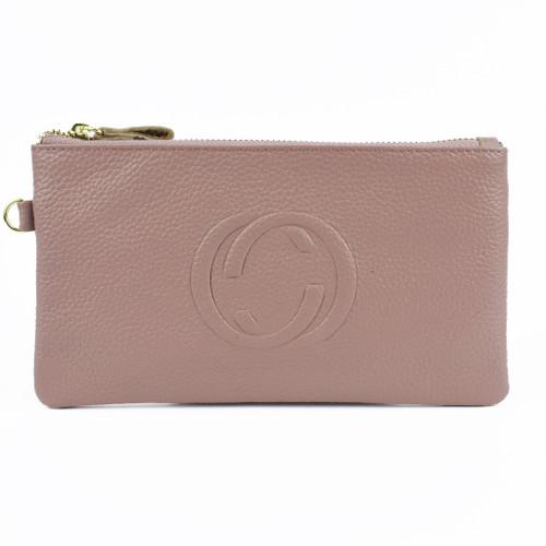 Lorelei Real Leather Designer Inspired Wristlet Purse - Pink