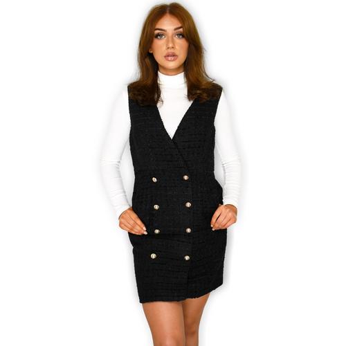 Krissy Designer Inspired Tweed Pinafore Dress - Black