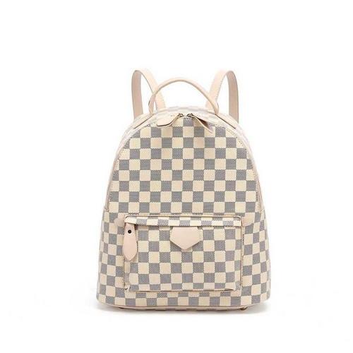 'Quickie' Designer Inspired Mini Backpack - Beige Check