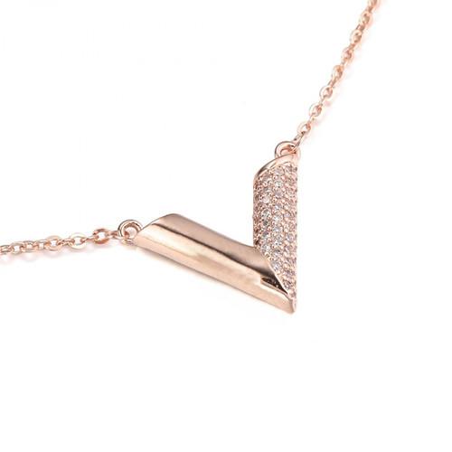 Essential V Designer Inspired Necklace - Rose Gold