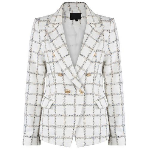 Jem Metallic Check Balmain Inspired Blazer - White