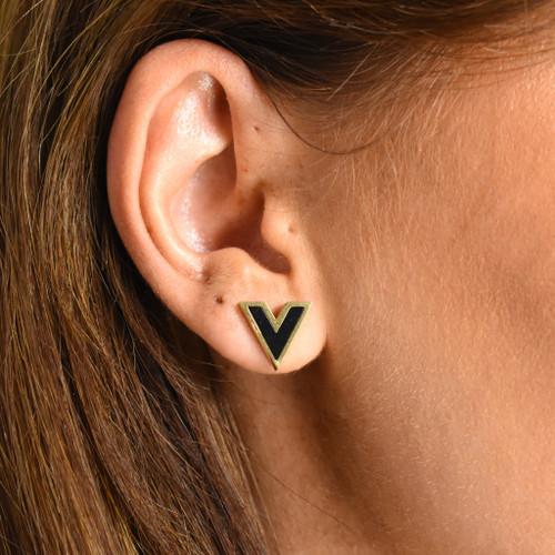 Vivi V Designer Inspired Stud Earrings - Gold