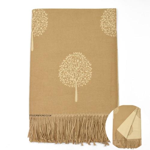 Ria Reversible Mulberry Tree Designer Inspired Scarf - Beige / Camel