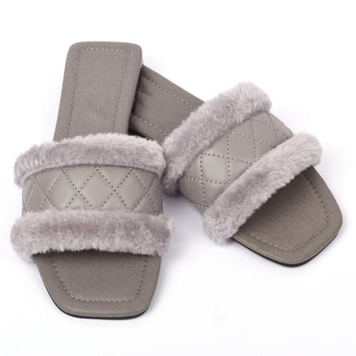 Cleo Faux Fur Designer Inspired Sandals - Grey