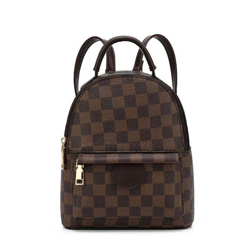 'Quickie' Designer Inspired Mini Backpack - Brown Check