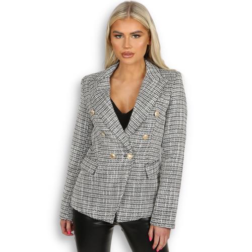 Paulina Contrast Knit Balmain Inspired Blazer - Black